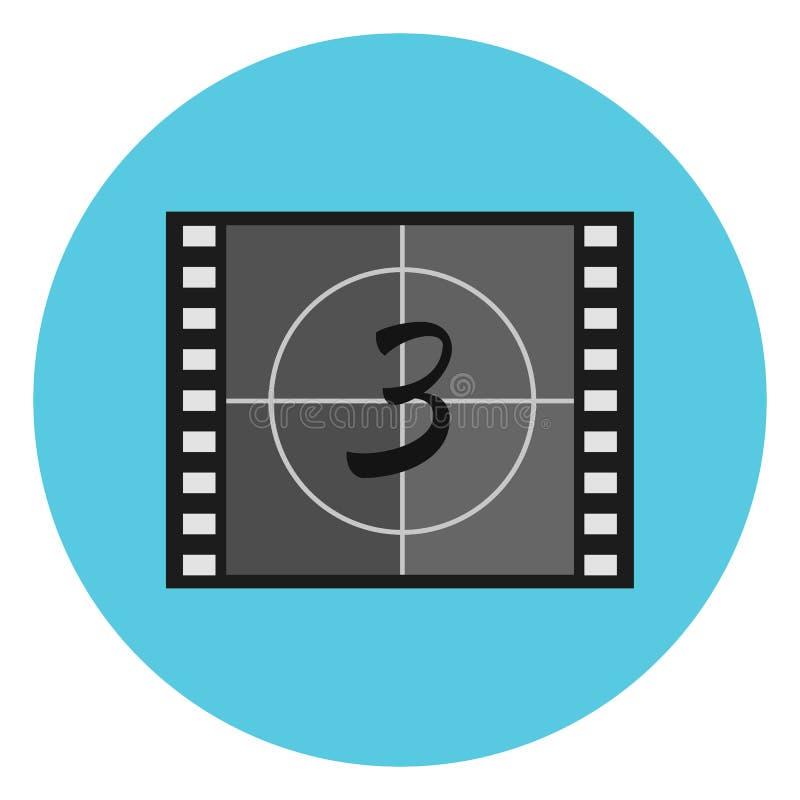 Het vlakke symbool van de filmaftelprocedure op videoband, filmleider, hoofdleider royalty-vrije illustratie