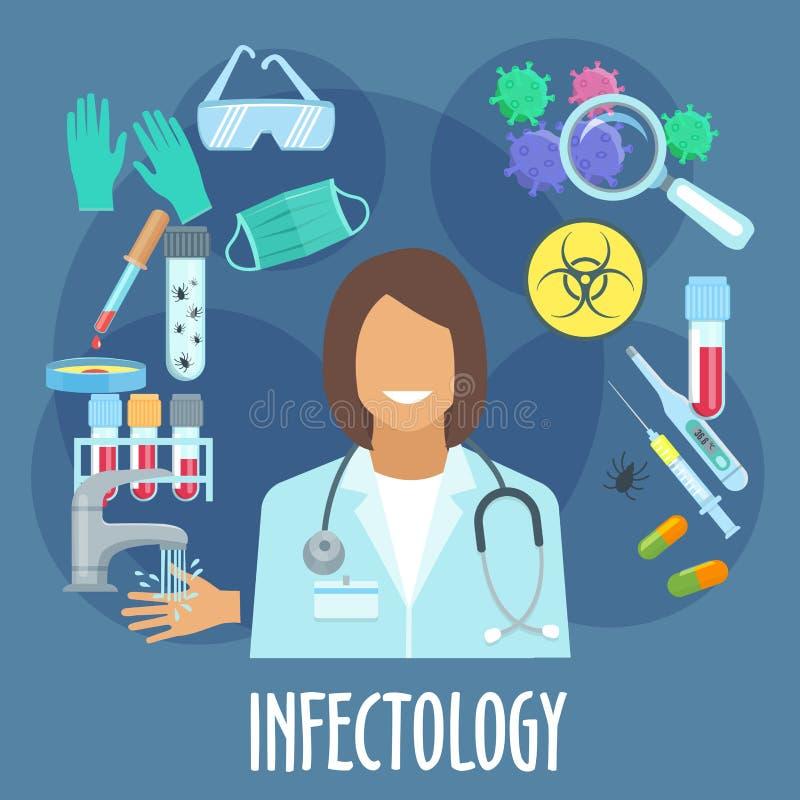Het vlakke symbool van de infectieziektegeneeskunde stock illustratie