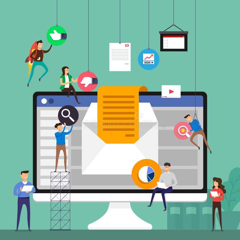 Het vlakke team die van het ontwerpconcept voor de bouw van e-mail werken die op de markt brengen royalty-vrije illustratie