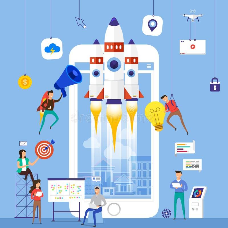 Het vlakke team die van het ontwerpconcept voor de bouw van startbedrijfwi werken stock illustratie