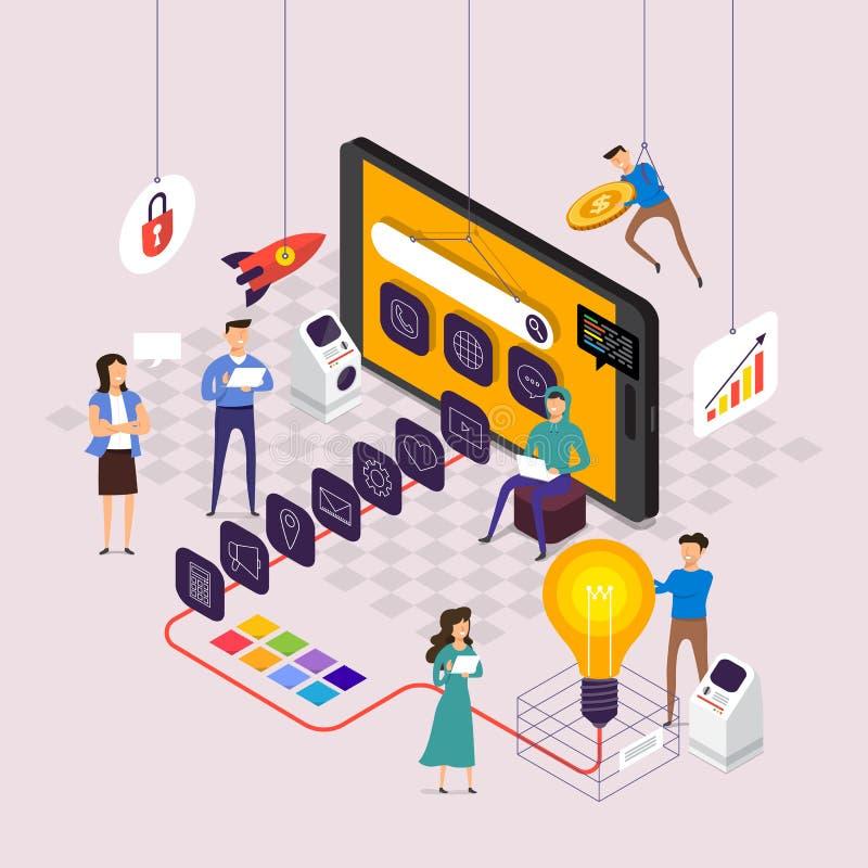 Het vlakke team die van het ontwerpconcept voor de bouw van toepassing op mobiel werken De vector illustreert stock illustratie