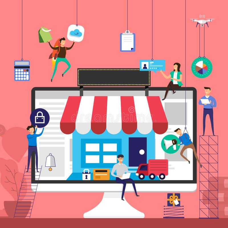 Het vlakke team die van het ontwerpconcept voor online opslagelektronische handel tec werken royalty-vrije illustratie