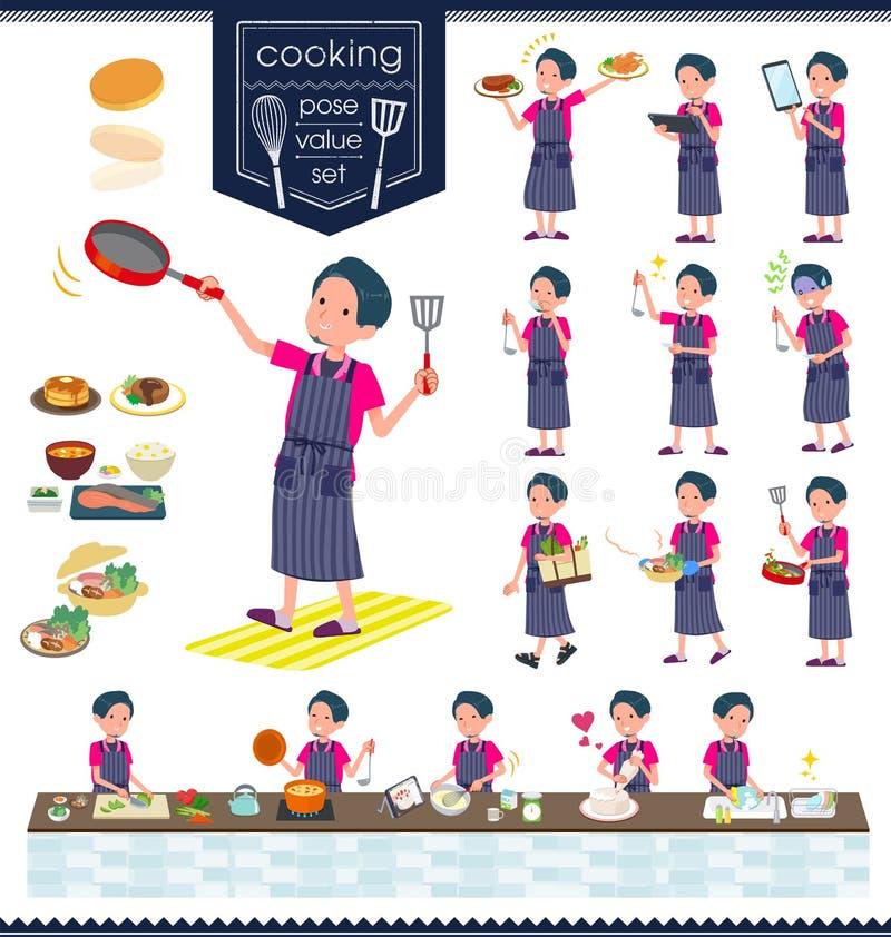 Het vlakke type roze overhemd man_cooking vector illustratie