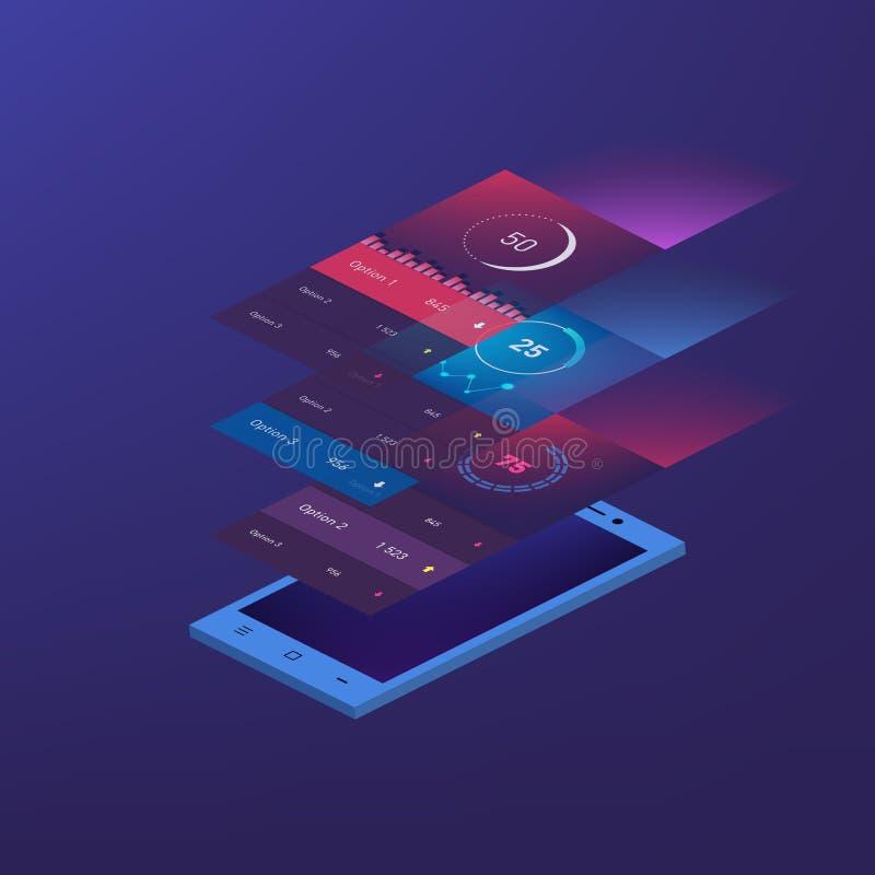 Het vlakke van het ontwerp ontvankelijke Beheer en Beleid mobiele app malplaatje van Dashbord UI op in subtiele vage achtergrond stock illustratie