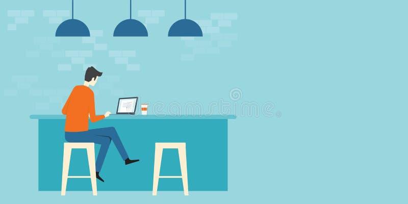 Het vlakke vector bedrijfs slimme werken in de werkplaats van de koffiewinkel royalty-vrije illustratie