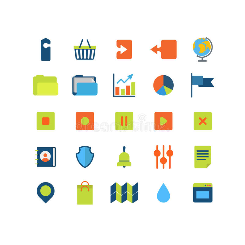 Het vlakke vector mobiele Webapp pak van het interfacepictogram: upload download royalty-vrije illustratie
