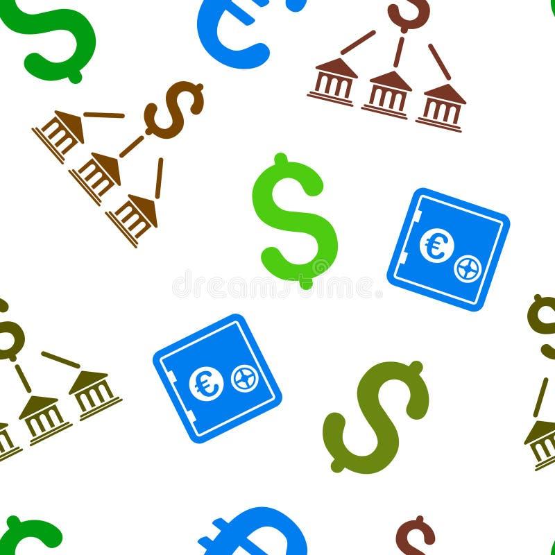 Het Vlakke Vector Naadloze Patroon van de bankorganisatie stock illustratie