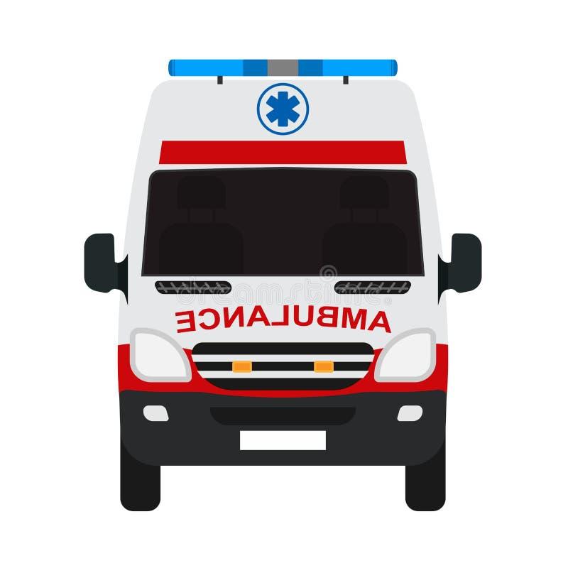 Het vlakke vector vooraanzicht van de ziekenwagenbestelwagen Auto rode het vervoersredding van de hulpnoodsituatie stock illustratie