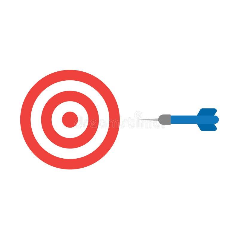 Het vlakke vectorconcept van de ontwerpstijl bullseye met pijltjepictogram op w royalty-vrije illustratie