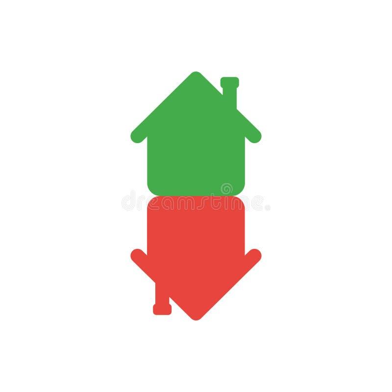Het vlakke vectorconcept van de ontwerpstijl huizen in een pijlvorm mov vector illustratie