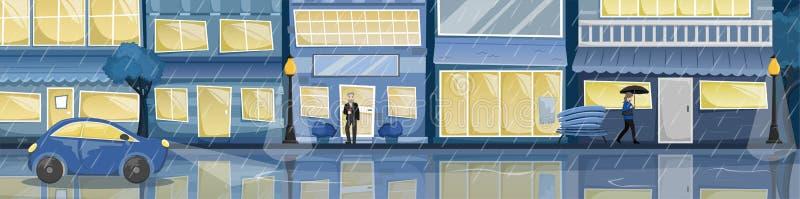 Het vlakke vectorlandschap van de nacht regenachtige stad Straat met heldere huizen, tekens, auto op de weg, bomen en banken royalty-vrije illustratie