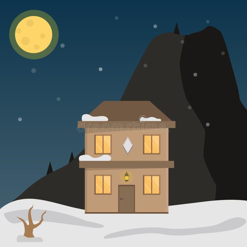 Het vlakke vectorlandschap van de nachtwinter met een huis, bergen en een dalende sneeuw op een blauwe achtergrond Vector illustr vector illustratie
