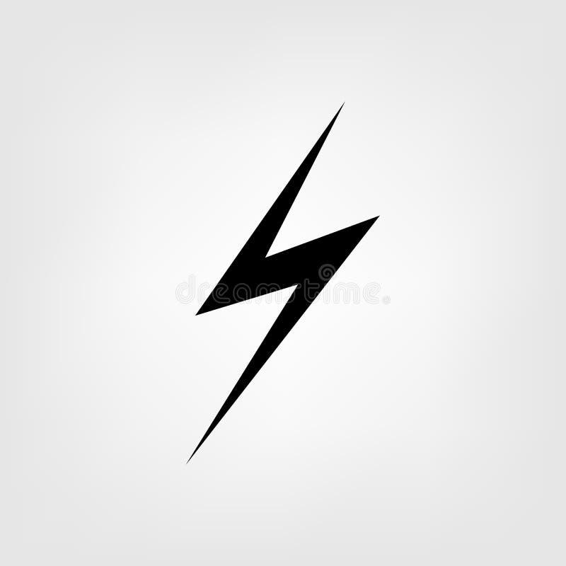 Het vlakke vectorpictogram van het bliksemteken Energie en donderillustratie van de de Machts de snelle snelheid van het elektric stock illustratie