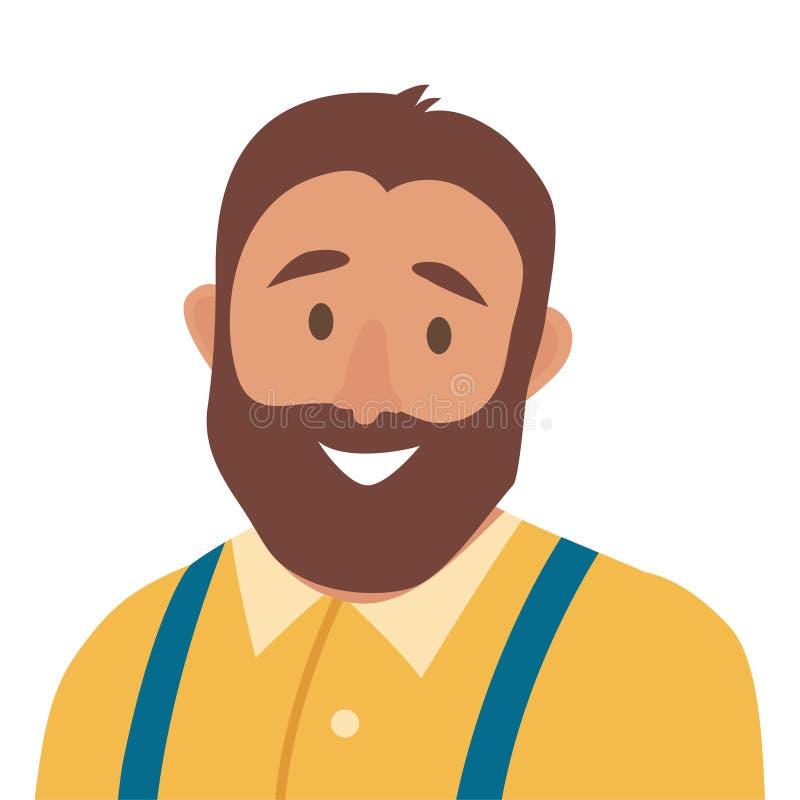Het vlakke vectorpictogram van de beeldverhaal gelukkige mens De vette illustratie van het mensenpictogram Hipsterkarakter vector illustratie