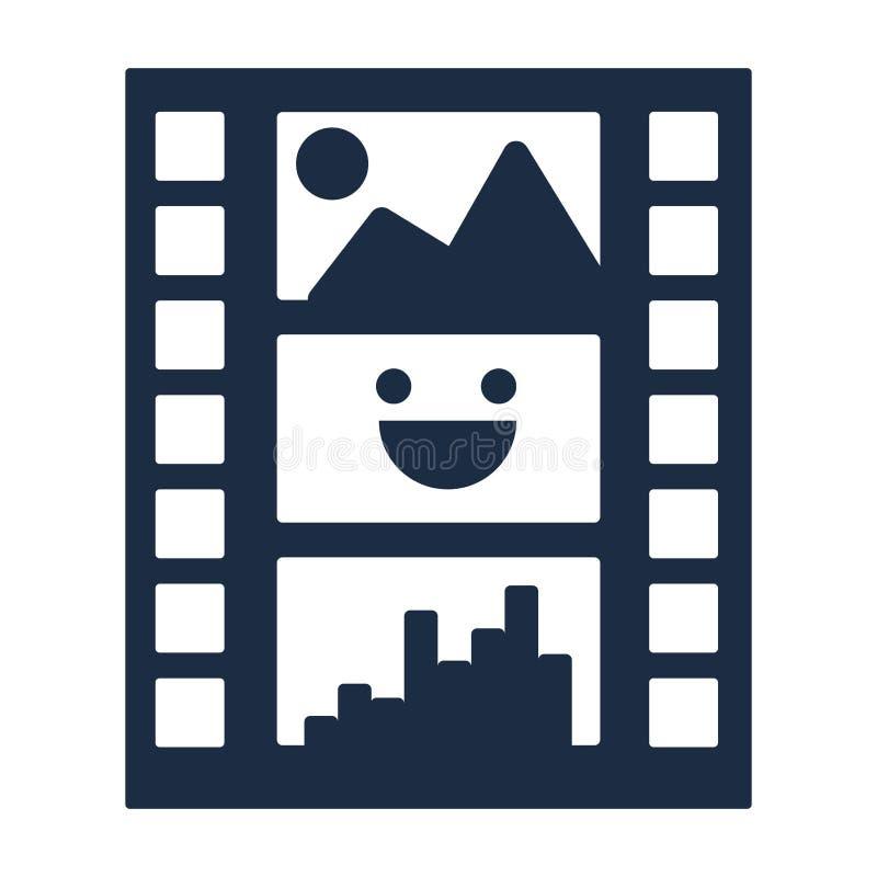 Het vlakke vectorpictogram van de filmstrook stock illustratie