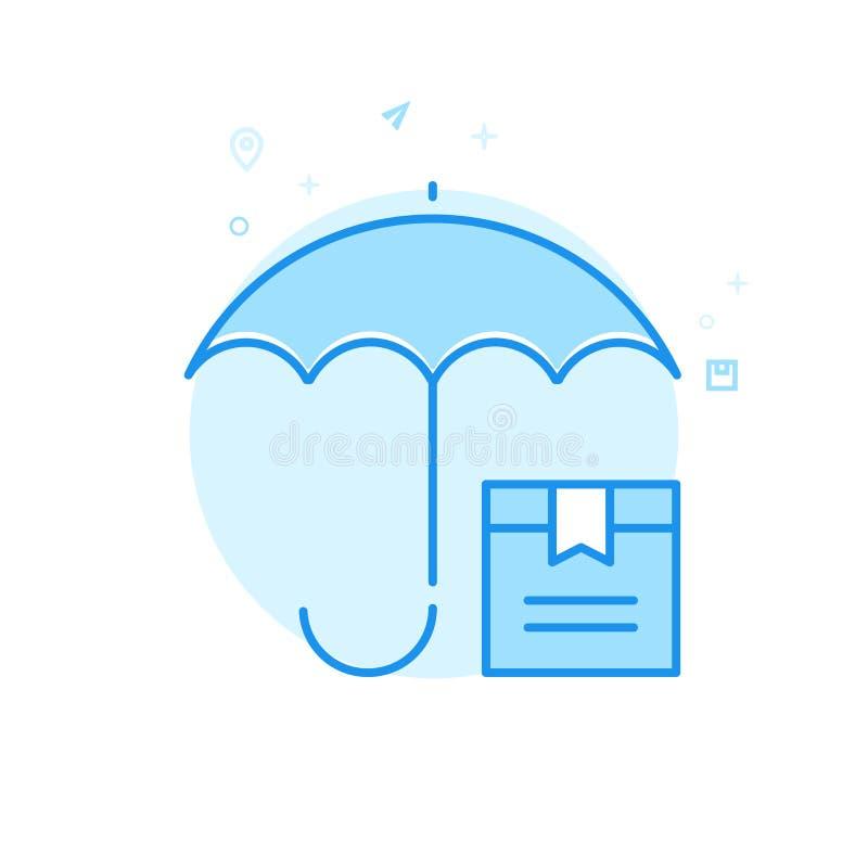Het Vlakke Vectorpictogram van de ladingsverzekering, Symbool, Pictogram, Teken Lichtblauw Zwart-wit Ontwerp Editableslag vector illustratie