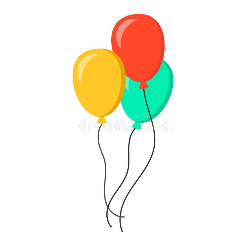 Het vlakke vectorpictogram van de luchtballon Verjaardags baloon illustratie op wh vector illustratie