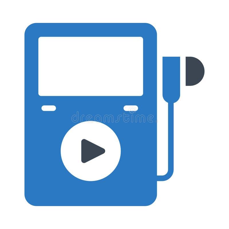 Het vlakke vectorpictogram van de oortelefoon glyph kleur stock illustratie