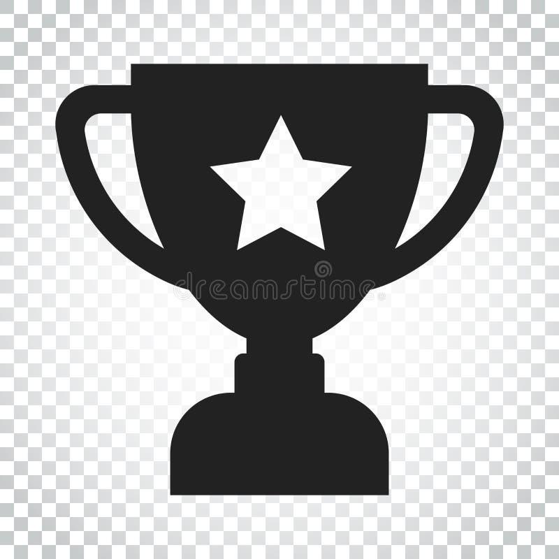Het vlakke vectorpictogram van de trofeekop Eenvoudig winnaarsymbool Zwarte illustr royalty-vrije illustratie