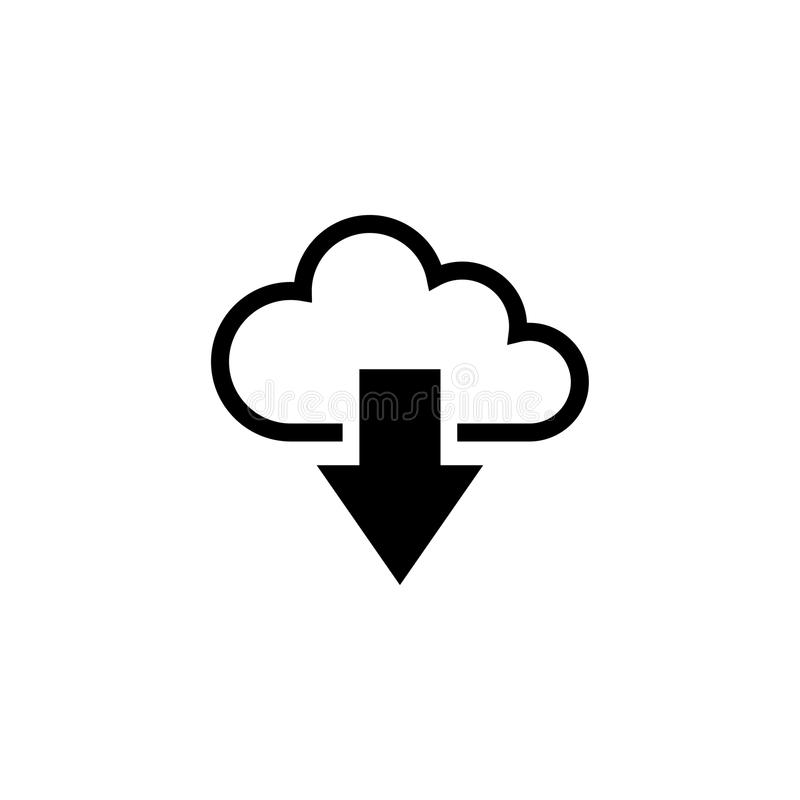 Het Vlakke Vectorpictogram van de wolkendownload vector illustratie