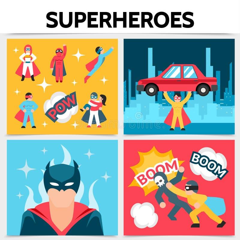 Het vlakke Vierkante Concept van Superheroes royalty-vrije illustratie