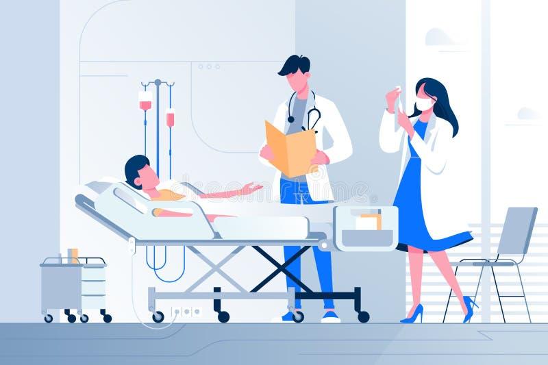 Het vlakke zieke jongere ligt dichtbij met druppelbuisje met arts en verpleegster bij het ziekenhuis vector illustratie