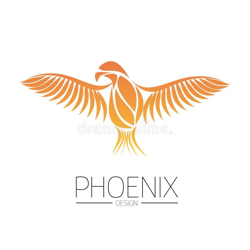 Het vlammen van de Vogel van Phoenix met brede uitgespreide vleugels in de oranje brandkleuren op witte achtergrond Symbool van h royalty-vrije illustratie
