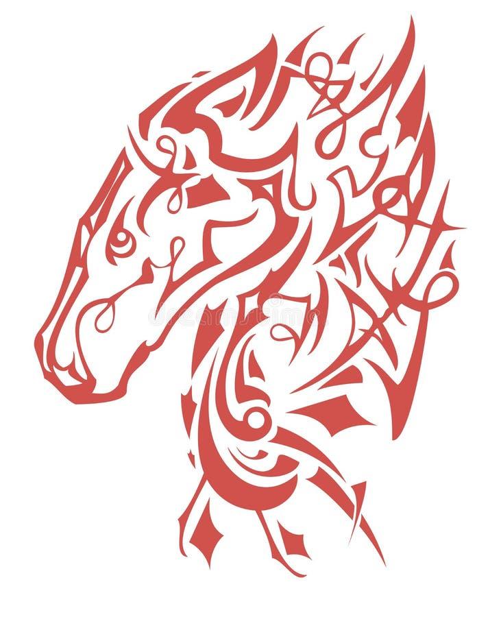 Het vlammende decoratieve symbool van het paardhoofd royalty-vrije illustratie