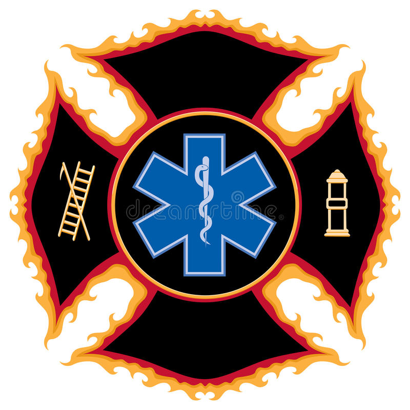Het vlammende Symbool van de Redding van de Brand royalty-vrije illustratie