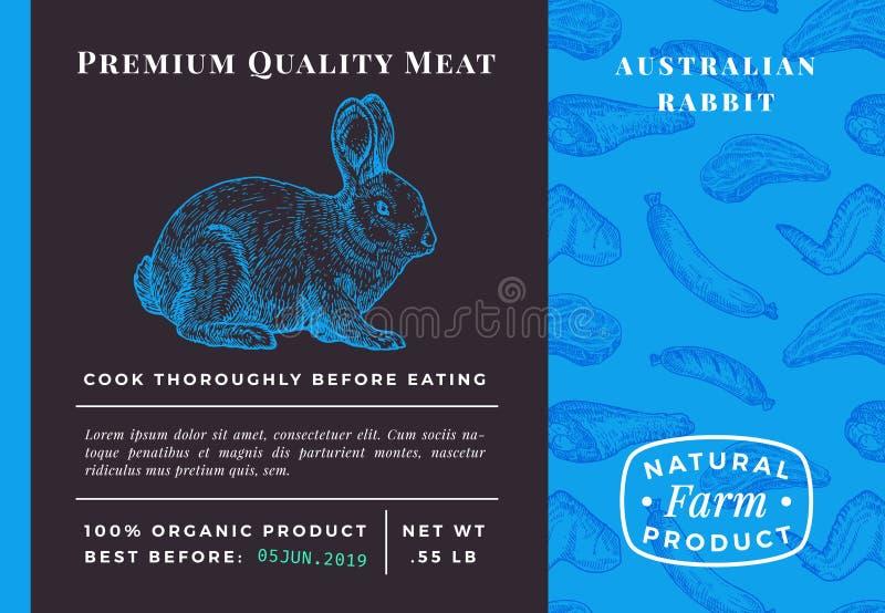Het Vlees Abstract Vectorkonijn van de premiekwaliteit Verpakkingsontwerp of Etiket Moderne Typografie en Hand Getrokken Hazensch stock illustratie