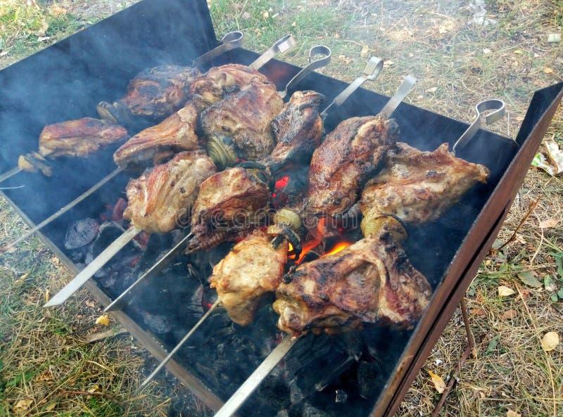 Het vlees is gekookt bij de staak - picknickpartij stock afbeelding