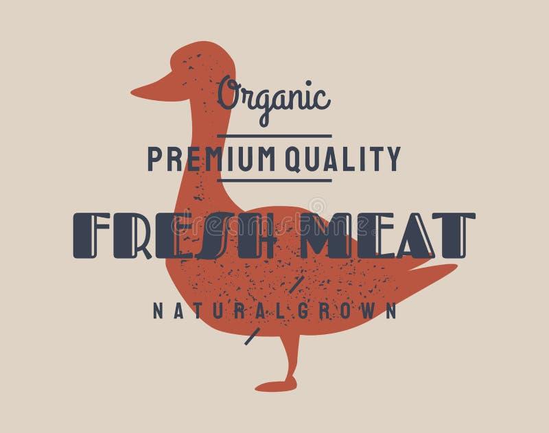 Het vlees van de eend Vector uitstekend embleem, retro druk, kunstpictogram, affiche voor de winkel van het Slachterijvlees met t royalty-vrije illustratie