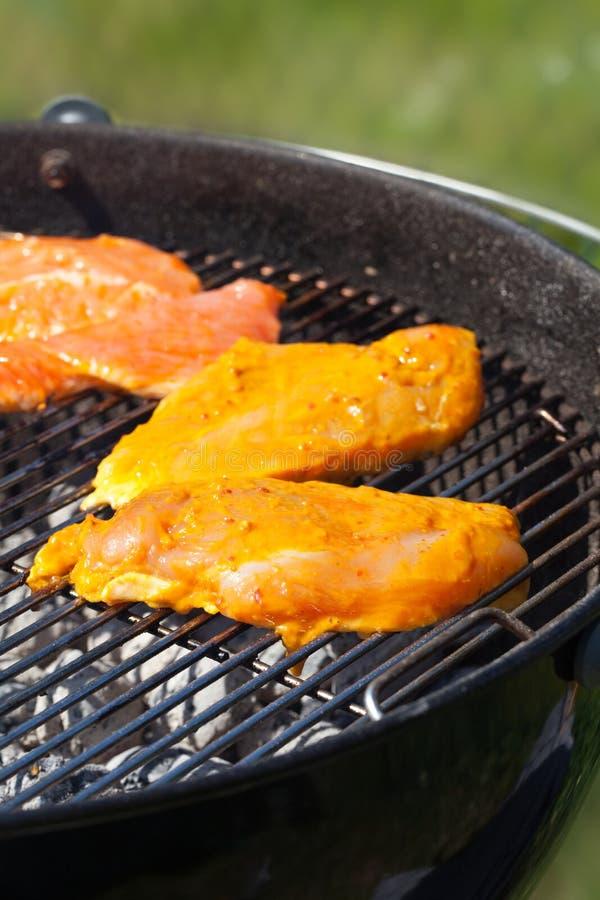 Het vlees van de kip op een grill royalty-vrije stock foto's