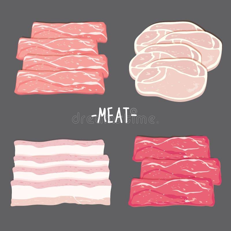 Het vleesvoedsel eet van de het baconkip van het rundvleesvarkensvlees van de het stukplak verse ruwe het beeldverhaalvector stock illustratie