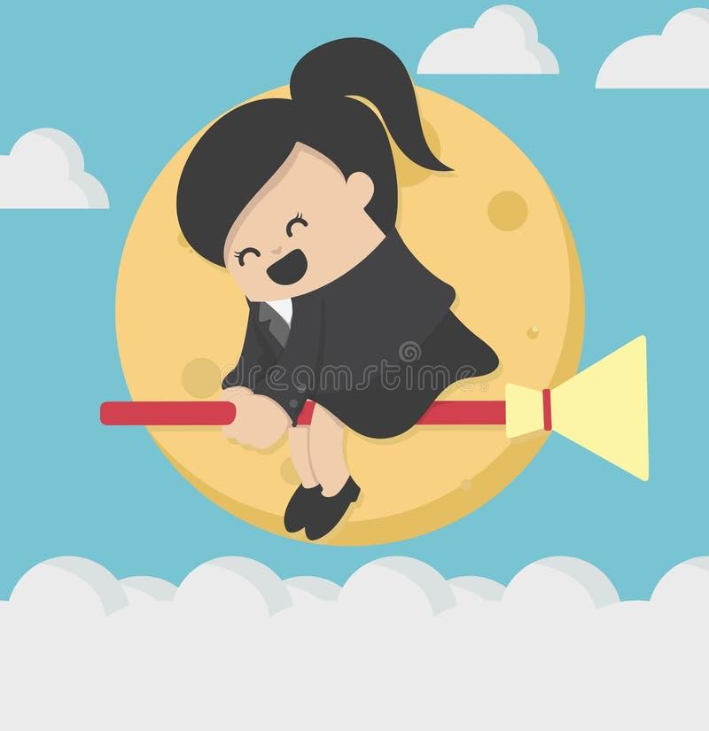 Het vliegen het berijden op bezem bij volle maan vector illustratie