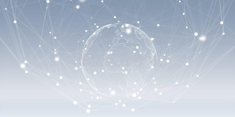 Het vliegen de interface van het aardenetwerk het 3D teruggeven royalty-vrije illustratie