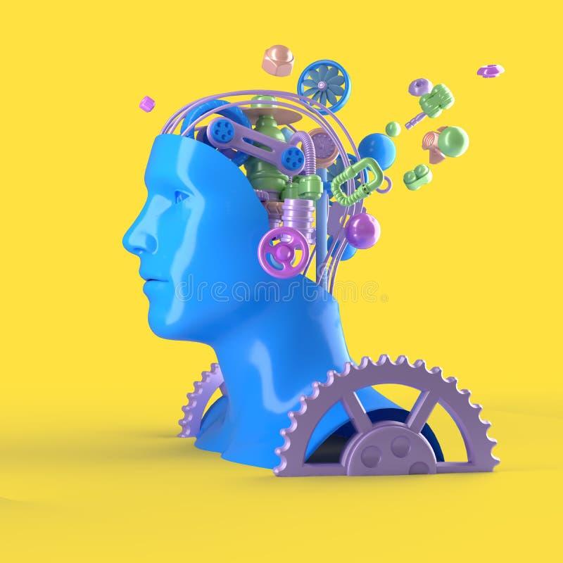 Het vliegen de samenstelling van mechanische elementen waarvan de mensen leiden wordt ontworpen op een gele achtergrond -3D het t vector illustratie