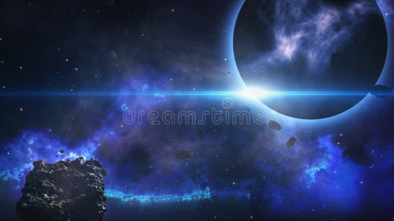 Het vliegen door een stervormig gebied van donkere planeet stock illustratie