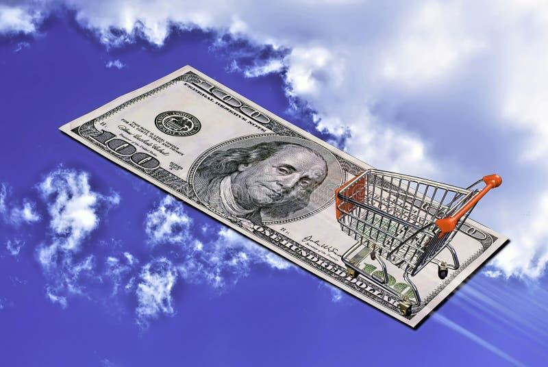 Het vliegen Geld het Winkelen royalty-vrije stock afbeeldingen