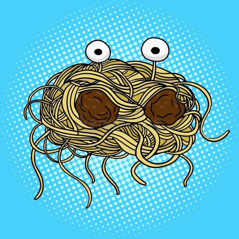 Het vliegen het pop-artvector van het spaghettimonster stock illustratie