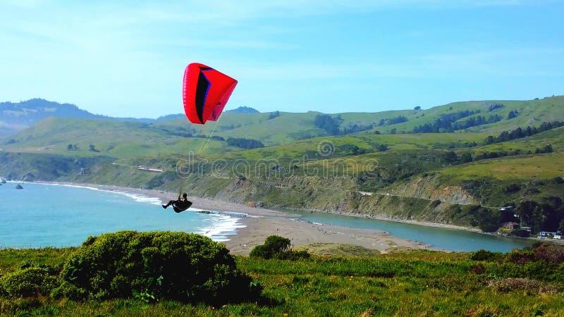 Het vliegen hoog van klippen & over oceaan royalty-vrije stock foto