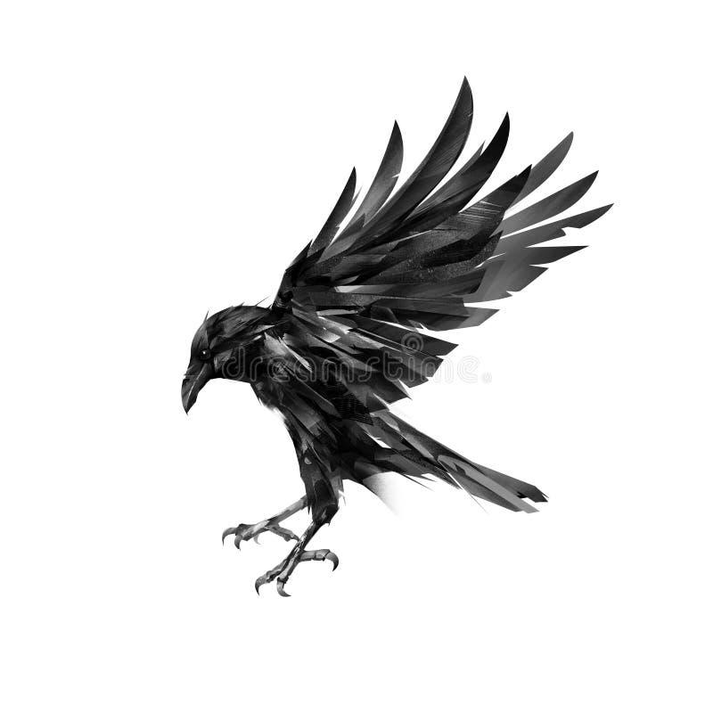Het vliegen kraai zijaanzicht over witte achtergrond vector illustratie
