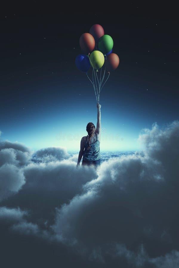 Het vliegen met ballons vector illustratie