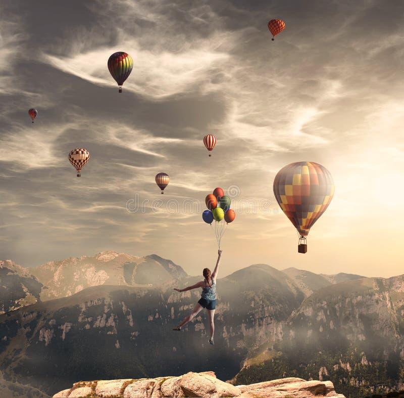 Het vliegen met grote ballons royalty-vrije stock foto