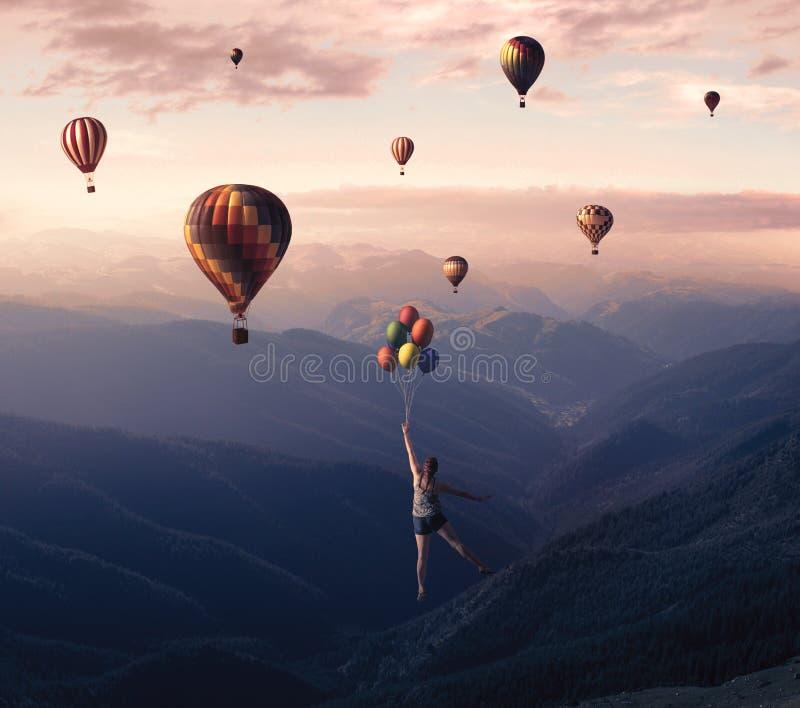 Het vliegen met grote ballons stock afbeelding