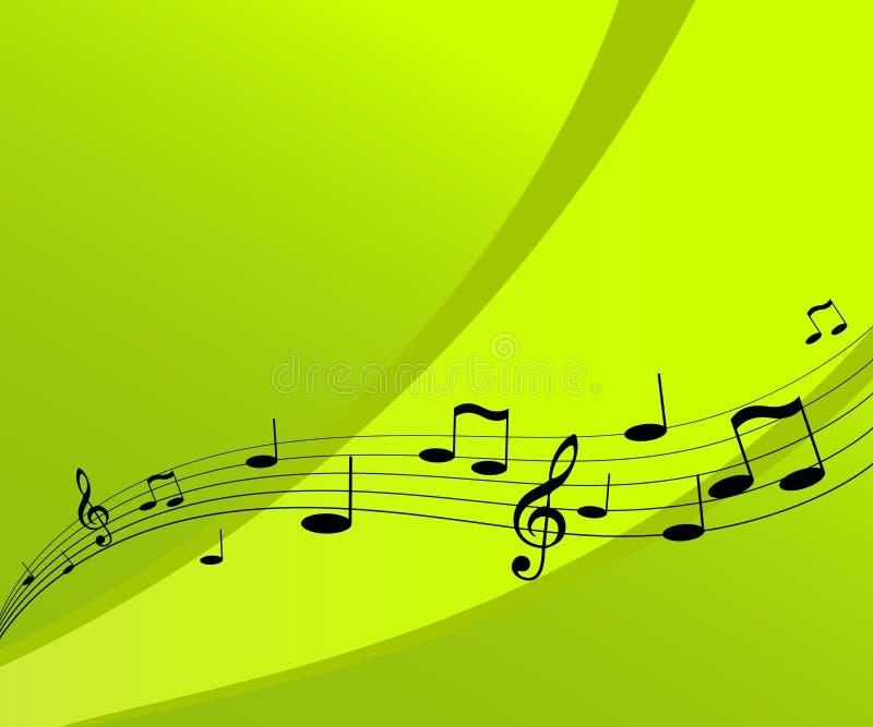 Het vliegen muziek op groene achtergrond. stock illustratie
