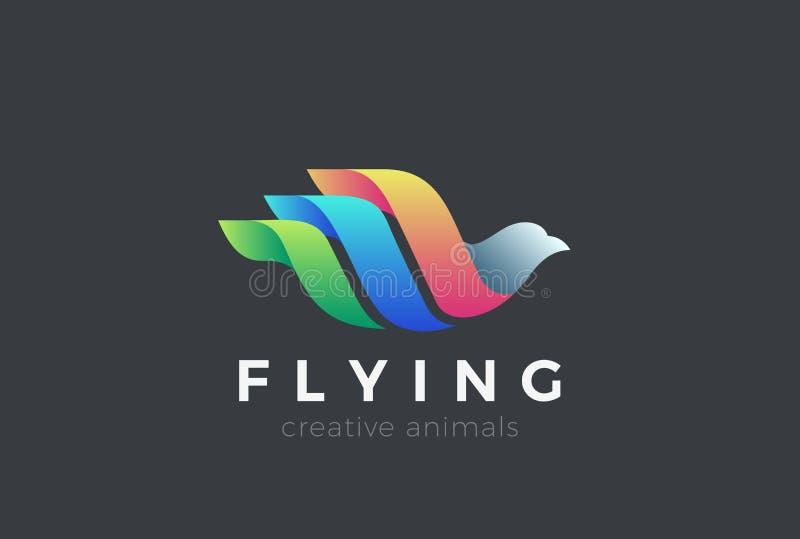 Het vliegen het ontwerpvector van het Vogelembleem De Duif L van de duifzwaan royalty-vrije illustratie