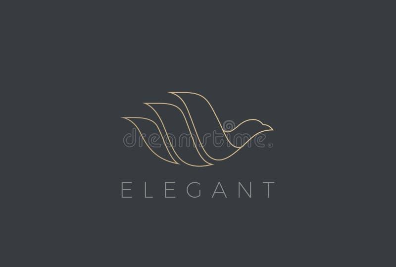 Het vliegen het ontwerpvector van Vogellogo elegant Duif Pigeo royalty-vrije illustratie