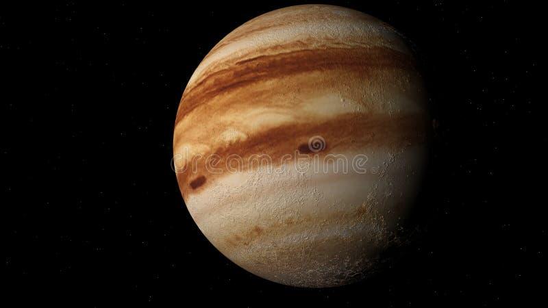 Het vliegen over de oppervlakte van Jupiter het 3d teruggeven stock illustratie