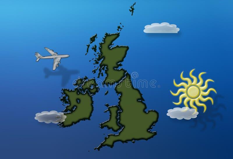 Het vliegen over de zomer van Groot-Brittannië stock illustratie